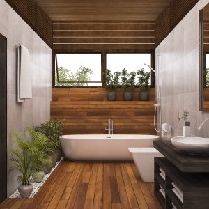 contemporary-wood-bathroom-with-plants